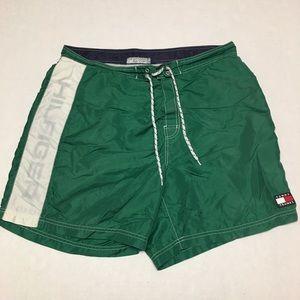 Vintage tommy hilfiger green swim trunks shorts